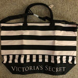 NWT VS Black & Light Pink Striped Canvas Tote Bag